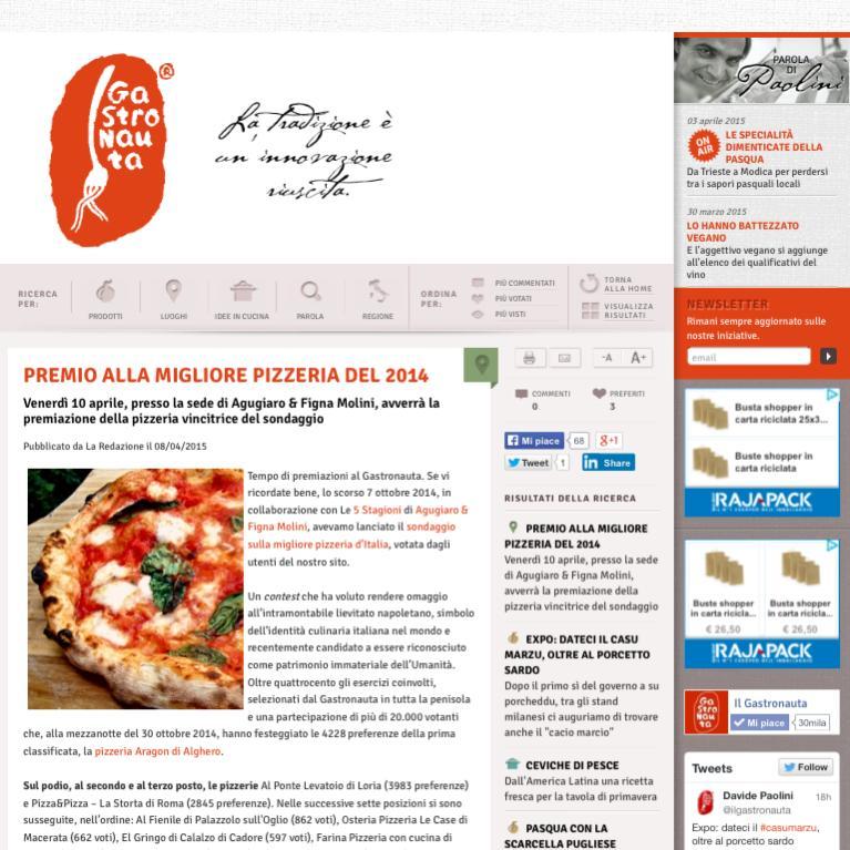 Premio alla migliore pizzeria sul Gastronauta